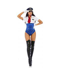 Disfraz sexy piloto en control - azul