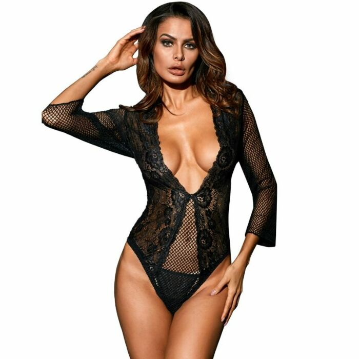 Queen lingerie teddy manga media negro