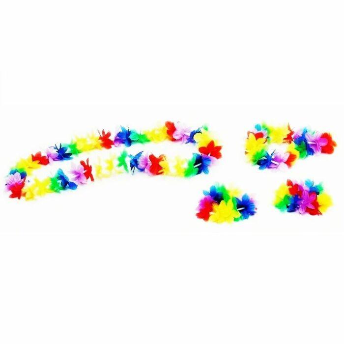 Collar + corona + pulsera + tobillera  hawaiian
